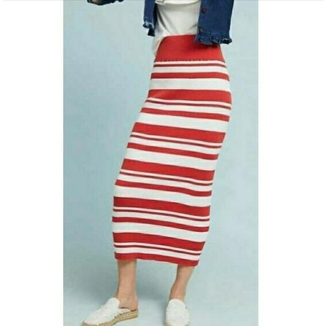 Item - Burnt Orange & White Stripe Simone Skirt Size 6 (S, 28)