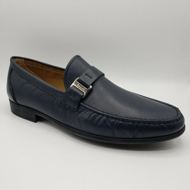 Item - Navy Blue Leather Slip On Dress with Silver Logo Us 11d / 10 Eu Shoes