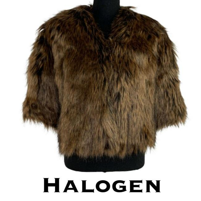 Item - Brown Faux Fur Shrug Poncho/Cape Size OS (one size)