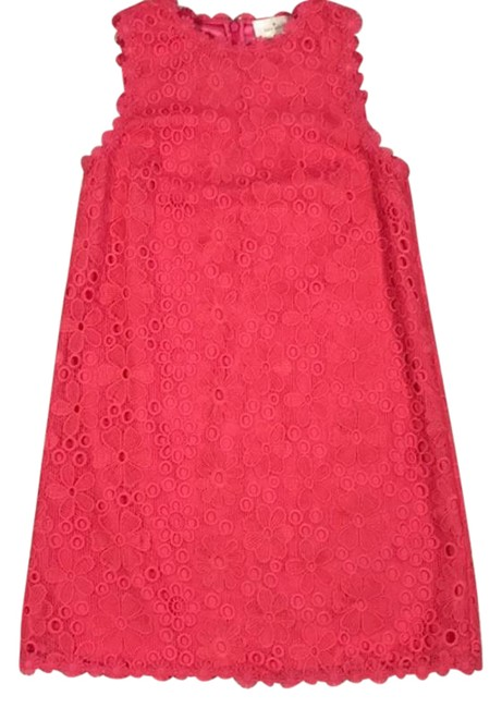 Item - Pink Eyelet Lace Overlay Shift Short Casual Dress Size 6 (S)