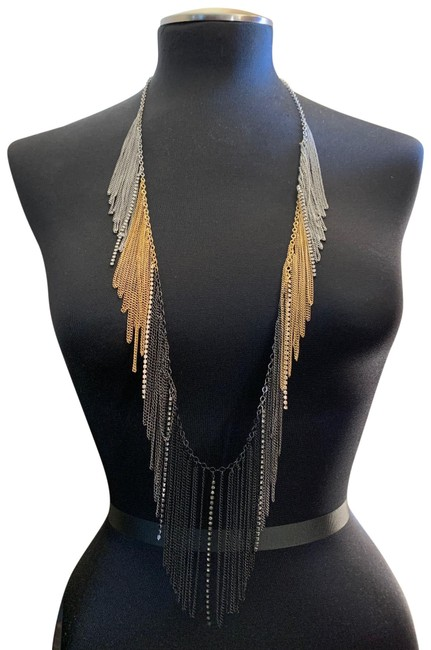 Item - Gold Toned Bcbg Body Chain Fringe Faux Diamond Necklace