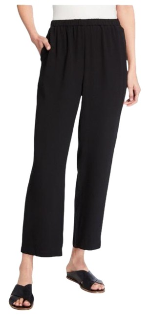 Item - Black Straight-leg Silk Georgette Crepe Ankle | | 2x Pants Size 22 (Plus 2x)