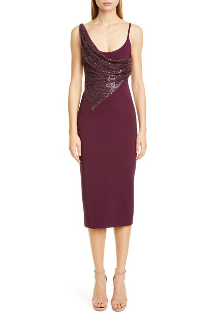 Item - Purple Plum Draped Beaded Sleeveless Runway Pencil Mid-length Cocktail Dress Size 4 (S)