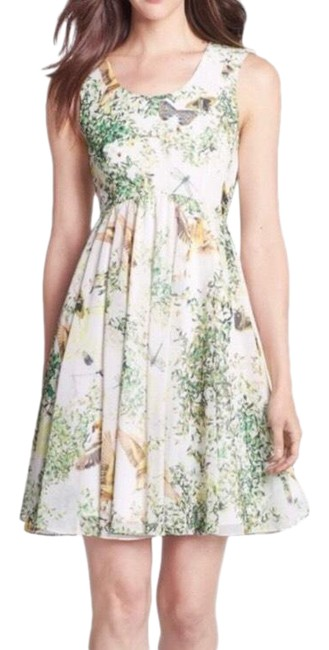 Item - Green Liano Floral Butterfly and Bird Print 2 Short Casual Dress Size 6 (S)