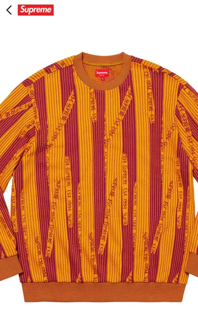 Item - Textured Stripe Crewneck Red and Yellow Sweater