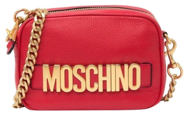 Item - Chain Strap Logo Red Leather Cross Body Bag