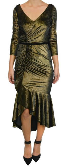 Item - Metallic Gold Rushed Midi Mid-length Night Out Dress Size 4 (S)