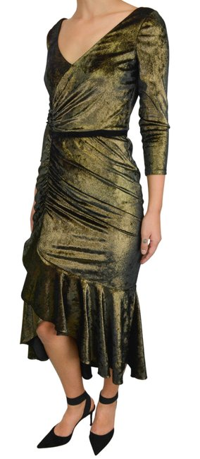 Item - Metallic Gold Rushed Midi Mid-length Night Out Dress Size 8 (M)