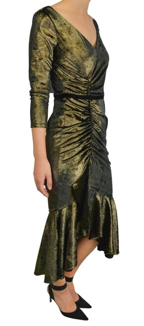 Item - Metallic Gold Rushed Midi Mid-length Night Out Dress Size 10 (M)