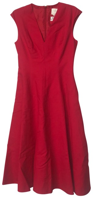 Item - Red Sleeveless V Neck Fit Flared Pockets Mid-length Cocktail Dress Size 4 (S)