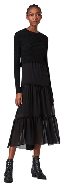 Item - Black Tilly 2-in-1 Tiered Midi with Crop Sweater Mid-length Casual Maxi Dress Size 4 (S)