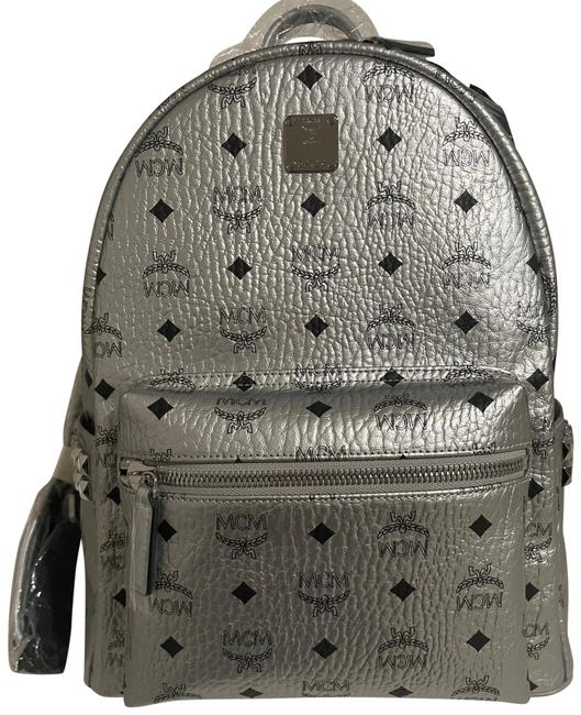 Item - Stark Metallic Studded Silver Canvas Backpack