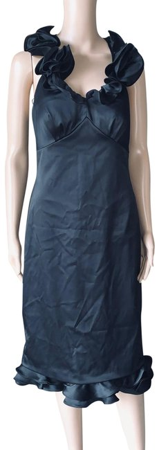 Item - Black Ruffle Neck Stretch Sexy Mid-length Cocktail Dress Size 6 (S)
