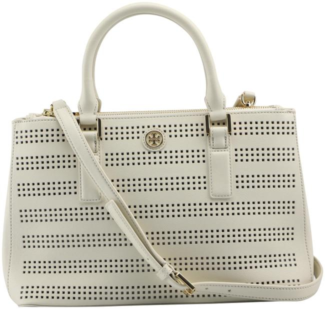 Item - Robinson 36865 Perforated Mini Double Zip In Luggage Leather Tote