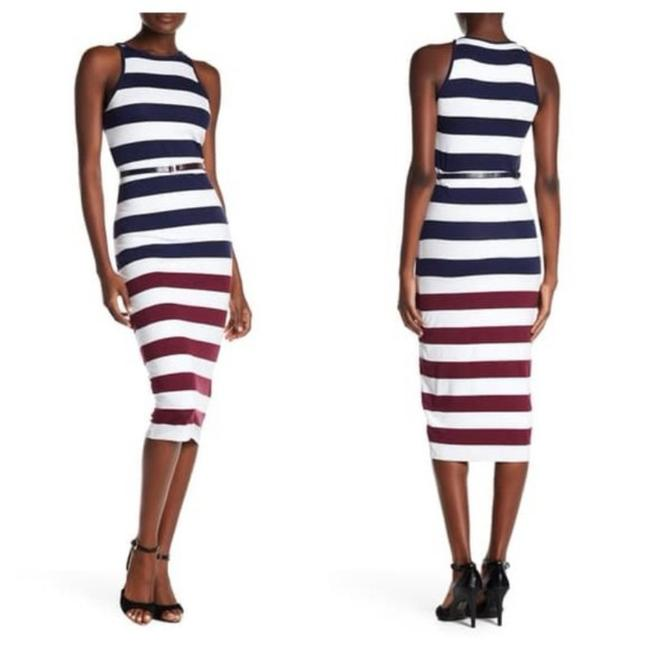 Item - White Blue Dark Red Yuni Rowing Stripe Mid-length Short Casual Dress Size 6 (S)