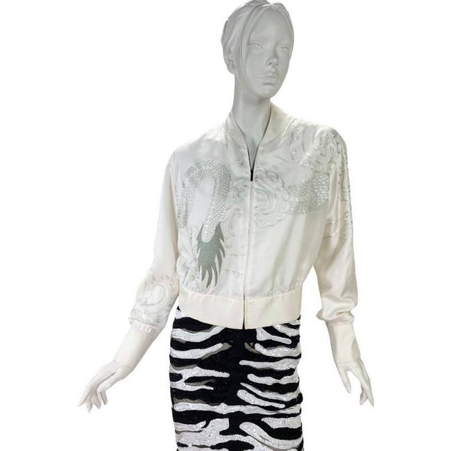 Item - White 2001 Vintage Tom Ford For Silk Bomber with Dragon Jacket Size 4 (S)