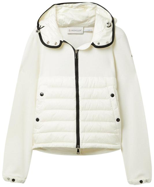 Item - White Hooded Quilted Shell Down and Wool Jacket Coat Size 4 (S)