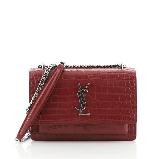 Item - Print Red Chain Sunset Crocodile Embossed Leather Wallet