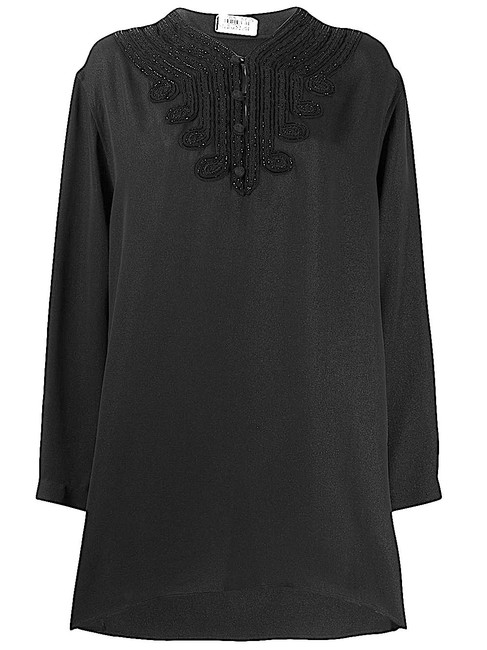 Item - Black with Tag Beaded Loose Tunic Size 12 (L)