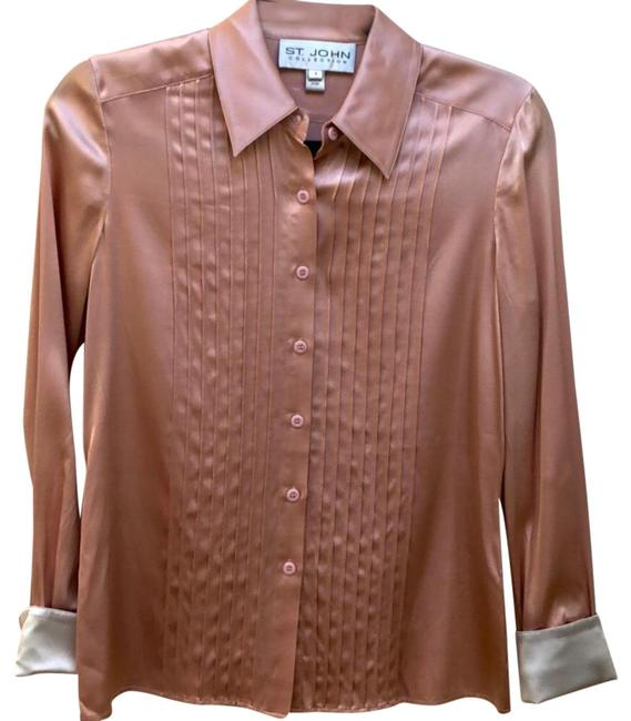 Item - Pink and Cream Button-down Top Size 4 (S)