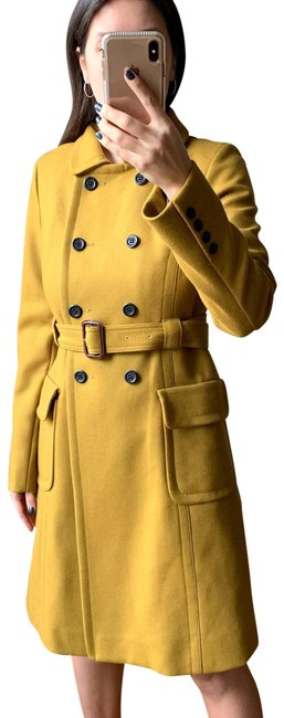 Item - Medallion Yellow Double Cloth Wool Coat Size 6 (S)