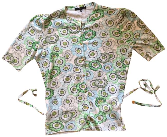 Item - Blue and Green Floral Short-sleeve Cardigan Size 8 (M)