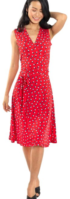 Item - Red Jersey Finnley Printed Faux Small Cocktail Dress Size 6 (S)