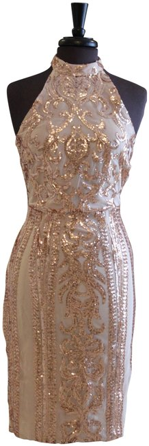 For Love & Lemons White and Rose Gold Large with Sequins Mid-length Cocktail Dress Size 10 (M) For Love & Lemons White and Rose Gold Large with Sequins Mid-length Cocktail Dress Size 10 (M) Image 1