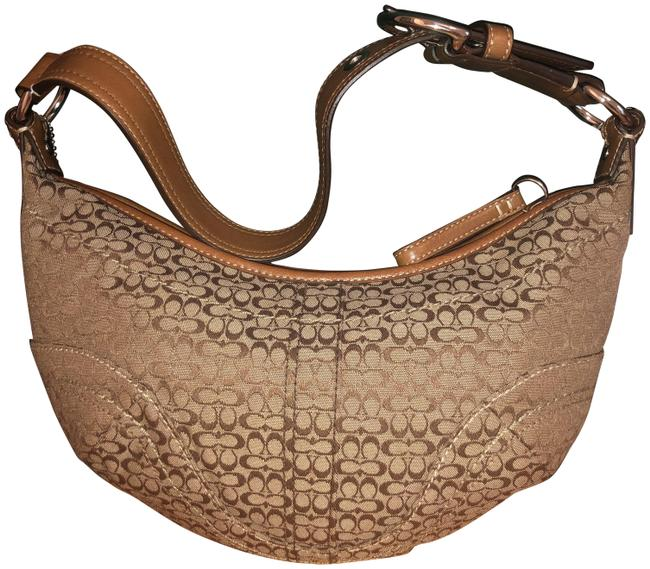 Item - Soho Signature Collection Medium Minsig F12306 Vintage Mid 2000s Khaki/Toffee/ Silver Hardware Jacquard Hobo Bag
