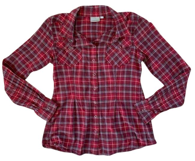 Item - Red White Cherrywood Tioga Plaid Snap Blouse Size 4 (S)