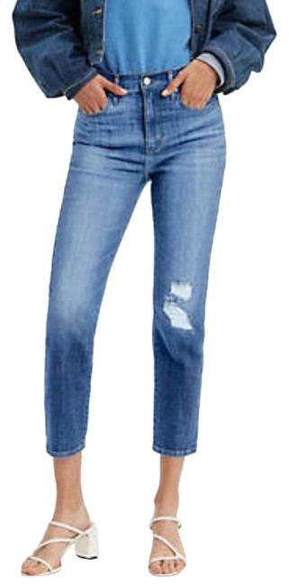 Item - Blue Distressed 724 High Rise Straight Crop Women's Capri/Cropped Jeans Size 10 (M, 31)