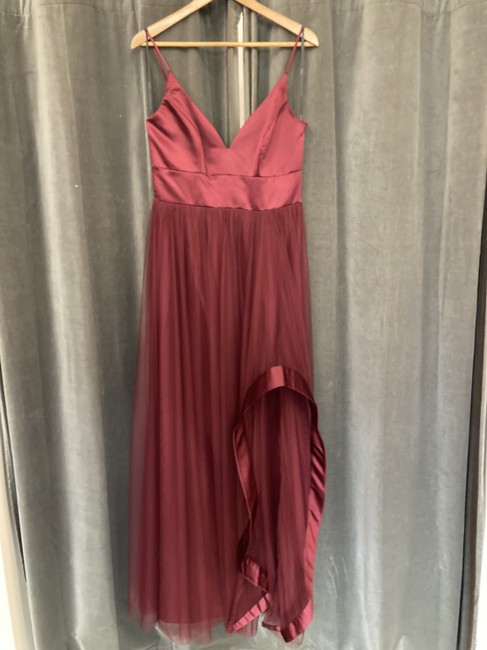 Item - Burgundy Satin Tulle 5856 Formal Bridesmaid/Mob Dress Size 8 (M)
