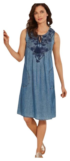 Item - Blue XS Kaylee Chambray Denim Embroidered Tunic Short Casual Dress Size 2 (XS)