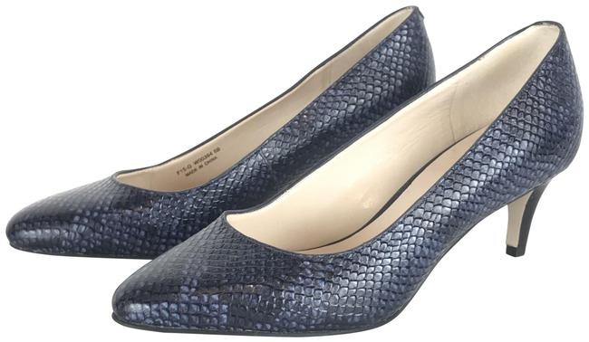 Item - Blue and Black Snakeskin Pattern Pointed Toe Classic Pumps Size US 5 Regular (M, B)
