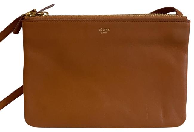 Item - Trio Large In Smooth Cognac Lambskin Leather Cross Body Bag