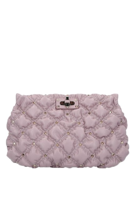 Item - Spikeme Nappa with Shoulder Strap Pink Leather Clutch