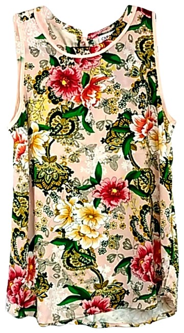 Item - Pink Floral Sleeveless Blouse Tank Top/Cami Size 6 (S)