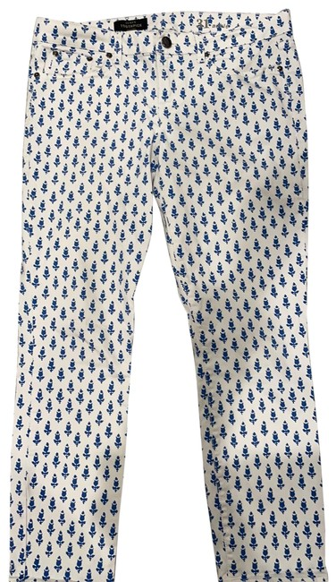 Item - White with Royal Blue Toothpick Ankle Skinny Jeans Size 10 (M, 31)