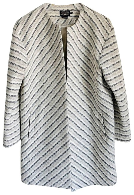 Item - White Wool Chevron Duster Pl Jacket Size 12 (L)