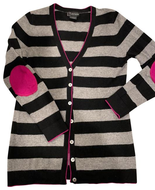 Item - Cardigan Black and Grey Stripes with Hot Pink Elbow Patches Sweater