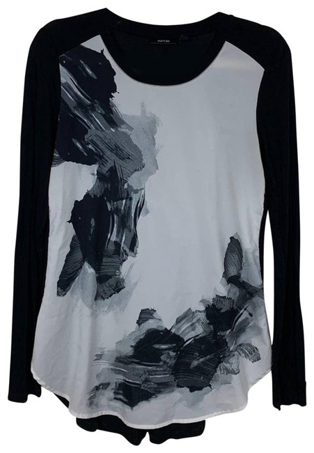Item - Black Floral Print Sheer Front Knit Tunic Size 4 (S)