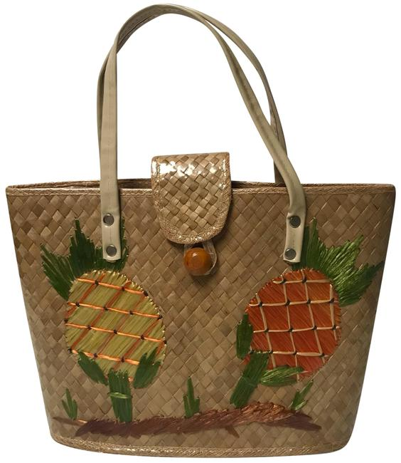 Item - 1960's Coated Tan Straw Tote