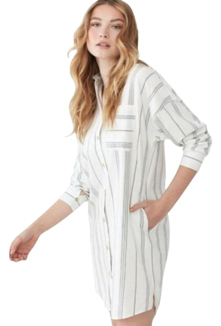 Item - White Gray Striped Mid-length Short Casual Dress Size 12 (L)