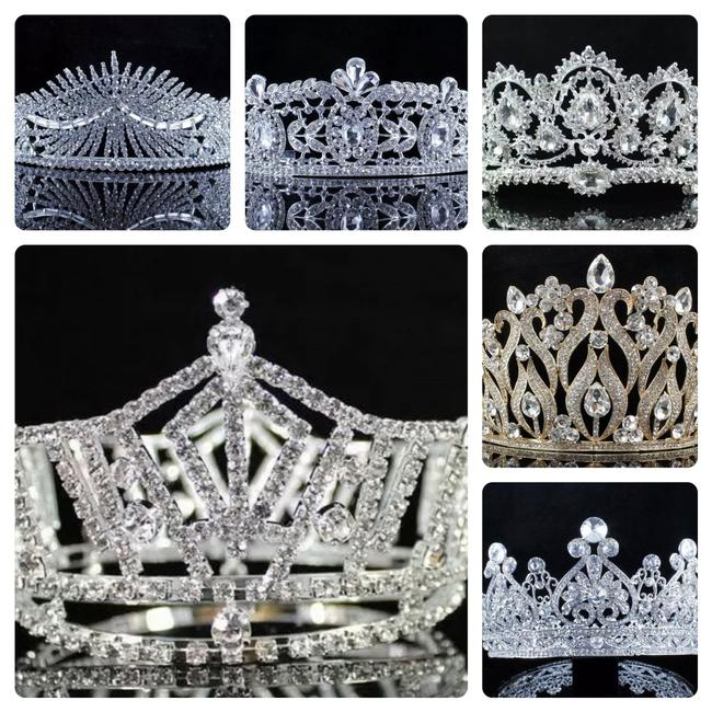 Item - Prom Mid-size Full Crown Austrian Rhinestone Pageant Silver Starting At Tiara