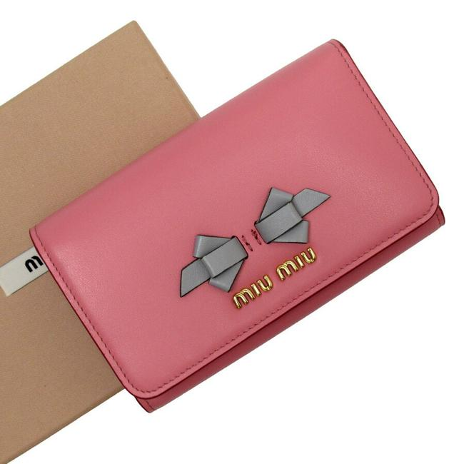 Item - Gold / Gray / Pink Tri-fold Leather Wallet