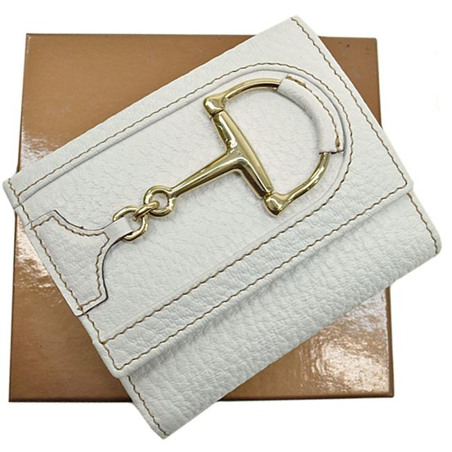 Item - Silver / White Horsebit Leather Bi-fold Ladies Wallet