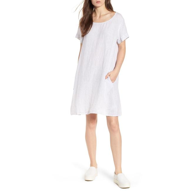 Item - White and Grey Stripe Linen In Mid-length Short Casual Dress Size 0 (XS)