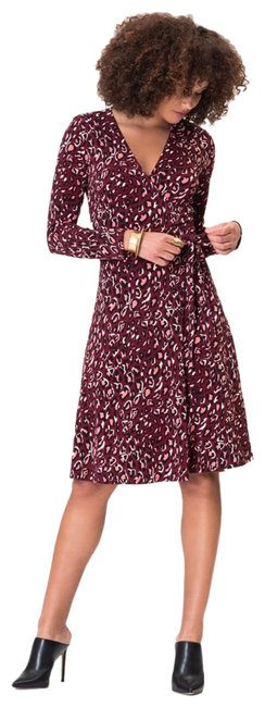 Item - Cabarnet Red Long Sleeve Perfect Cheetah Xxs Mid-length Short Casual Dress Size 00 (XXS)