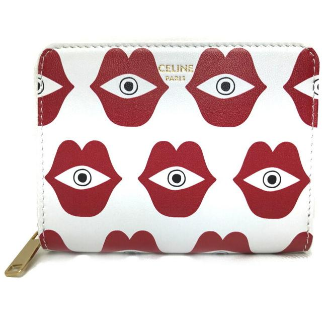 Item - Red Color / White Leather Round Zip Coin Case Included Anneli Henrikson Collaboration 10a663brh Limited Wallet