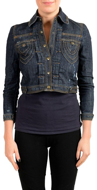 Item - Navy Blue Women's Button Down Distressed Cropped Jacket Size 4 (S)